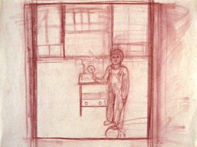 Figurative conte drawing of boy with clock