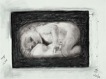 Breastfeeding infant - Charcoal Drawings from the Ring of Fire Exhibition