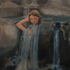 Oil on Linen - Girl in Flowing Pool of Water