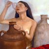 Original Oil Paintings of nude woman drinking for sale by  Claudia Kleefeld